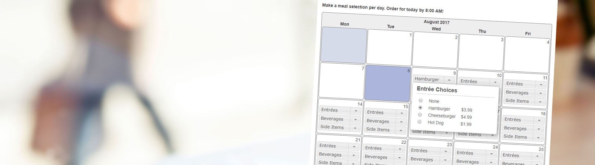 Meal Site Calendar-Based School Lunch Ordering System